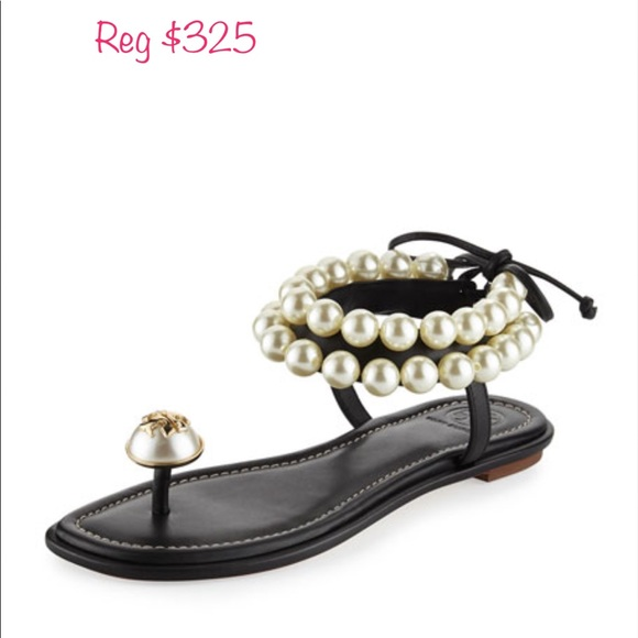9da51c73d5f1 TORY BURCH Black leather   Pearls Sz 6. M 599ced42eaf03098f7022fa2