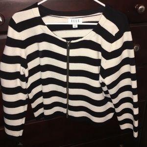 ELLE Jackets & Coats - Black & white stripped  3/4 sleeves jacket