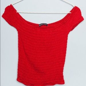 Brandy Melville red Charlene off shoulder top