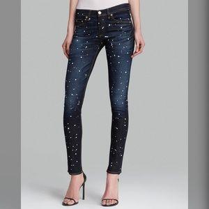 Rag & Bone Blue Anfield Splatter Skinny Jeans