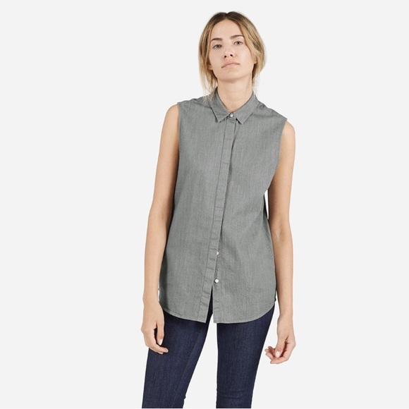 6087569ec Everlane Tops - Everlane | grey sleeveless button down top