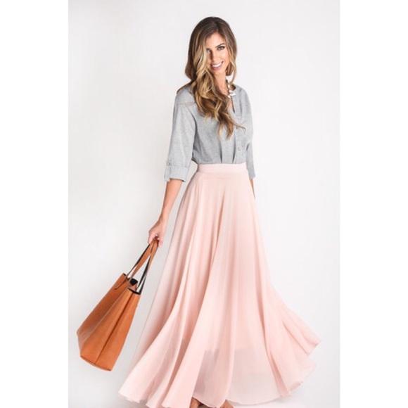 Lucy Paris Skirts Chiffon Maxi Skirt Light Pink Poshmark