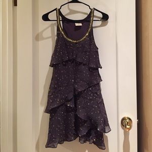 Free people purple gold accent ruffle dress 0