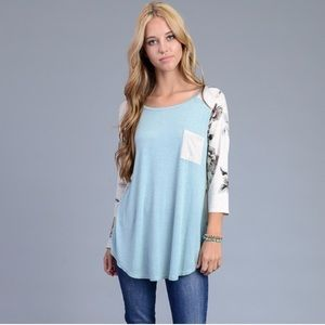 Tops - Baby Blue Boat Neck Flower Patterned Top