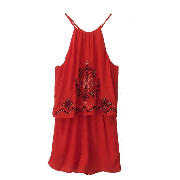 021fb1b020bd Flying tomato bright coral embroidered romper