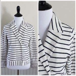 LOFT Navy White Striped Textured Blazer Jacket S P