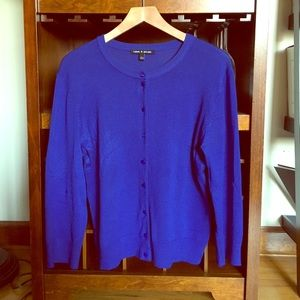 Cable & Gauge royal cobalt blue cardigan sweater