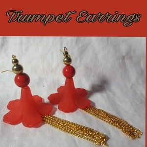 🆕️RED TRUMPET-ONE OF A KIND- DANGLE  EARRINGSBoutique, used for sale