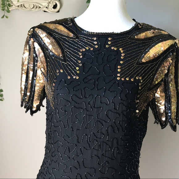 Vintage Dresses Stenay Beaded Black And Gold Wing Dress Poshmark