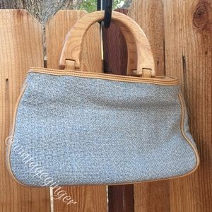 Handbags - Tan and Sky Blue Tweed Satchel