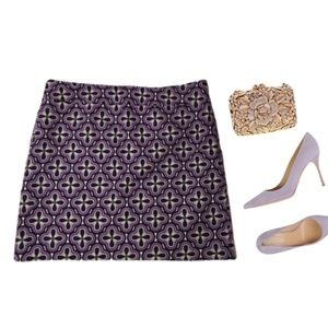ANN TAYLOR printed cotton skirt mod retro 18