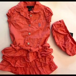 Girls Ruffle dress & bloomer set