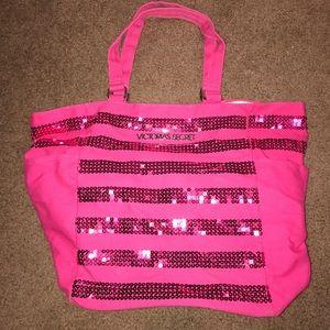 Pink sequin striped Victoria Secret tote bag