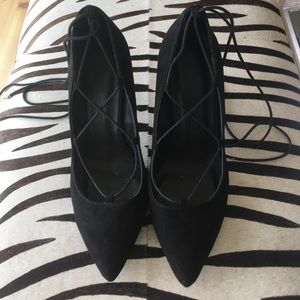 Black Pointed Toe Lace Up Heels