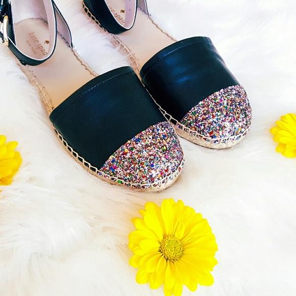 44134b8e3f7 ▪Kate Spade▪ Leather Espadrilles Glitter Toe Shoes