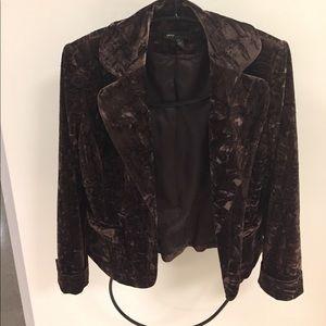 Brown Crushed Velvet Blazer with Bow Pocket Detail