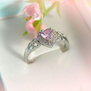 Pink Topaz Heart Ring S925