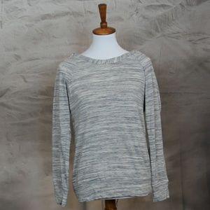 Stitch Fix Le Lis gray & white crochet back top S