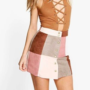 Suedette Patchwork Mini Skirt (Worn Once)!