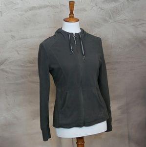 REI gray fleece hoodie: zip up, XS