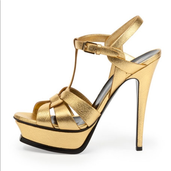 a06a6ec32ed YSL Metallic Gold Tribute Platforms