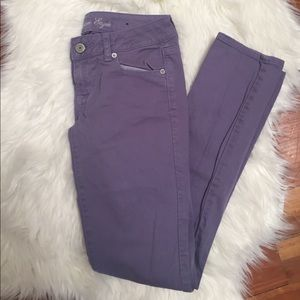 purple AE skinny jeans size 4