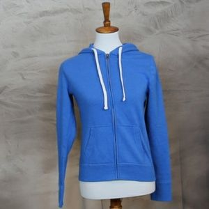 Mossimo blue cotton/poly zip up hoodie. S