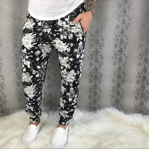 Pants - Black Grey Floral Butter Soft Joggers