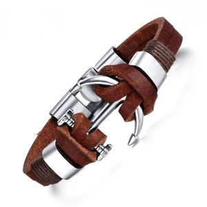 Jewelry - Brown Leather ⚓️ Anchor Bracelet Unisex