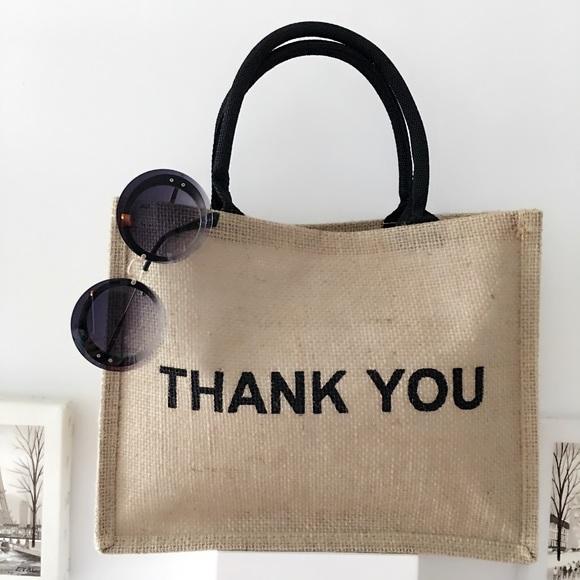 Bags   Pm Editor Pick Thank You Jute Tote Bag   Poshmark bc34c453db