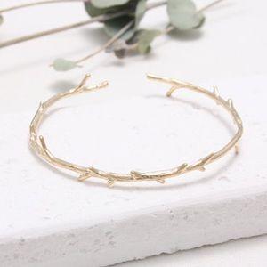 Gold Twig Rose Thorn Open Cuff Bracelet
