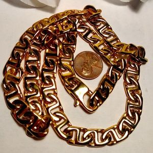 Jewelry - Long Steel 24K Gold Plated Steel Chain Necklace