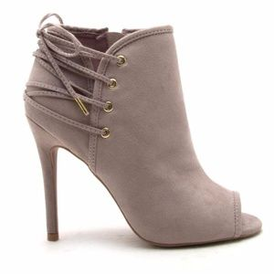 Shoes - 🆕 HP!! Noemi Lace Up Accent Peep Toe Bootie TAUPE
