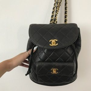 1bba623ed3 Vintage Chanel backpack quilted gold cc bag purse