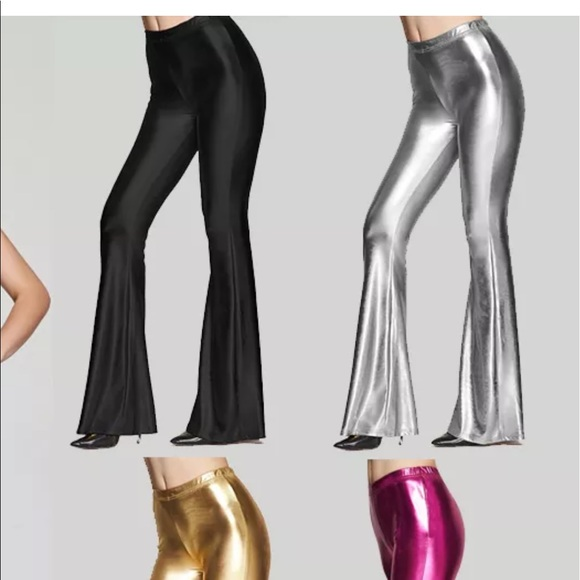 d634b069fa3f0 Candy metallic bell bottom pants rave festival