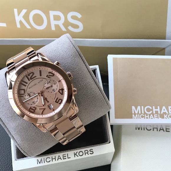 37ff230bece4  275 Michael Kors Mercer Rose Gold MK Watch MK5727