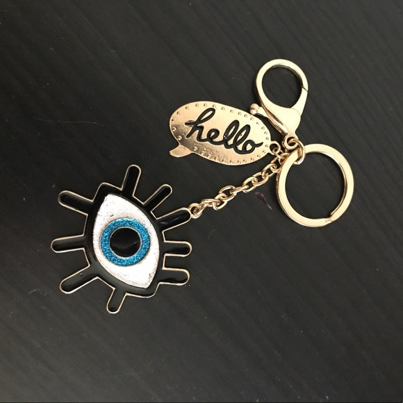 wall decor also great for keychains and back packs Blue feather evil eye purse decor