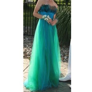 Strapless blue/green feather prom dress