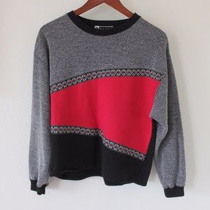 Vintage Color Block Pullover Sweatshirt
