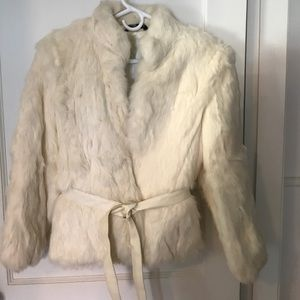 White fur coat with leather tie