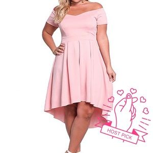 Dresses & Skirts - 🌸HP! Plus Pink Off Shoulder Holiday Dress, XL-3XL