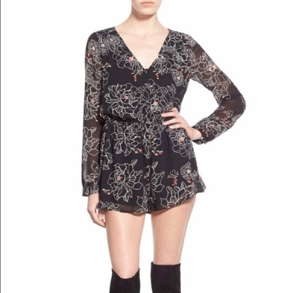 849e20f7296b Astr Pants - Black romper with floral design! Size S ASTR