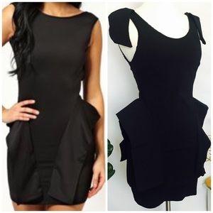 Dresses & Skirts - Black Peplum Bandage Dress M