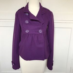 FRENCHI Purple Wool Blend Cropped Coat S