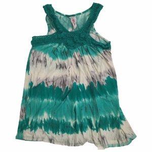 Tops - Tie Dye Green Boho Summer Crochet Top