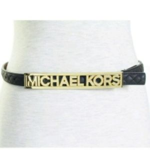 Michael Kors black gold nameplate belt