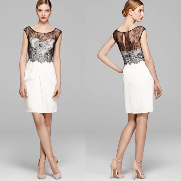 Vera Wang Dresses White Dress With Black Lace Overlay Poshmark