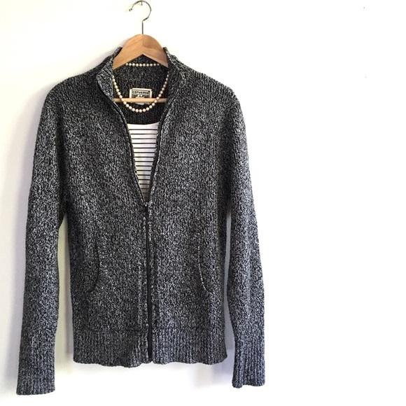 b2286f91453a Men s CONVERSE Gray Heavy Knit Zip Sweater