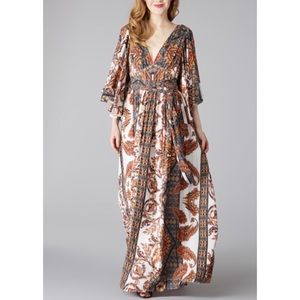Free People Neutral Fern Party Maxi Dress Cream 4