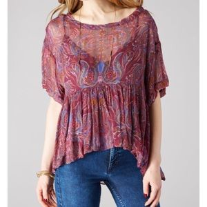 Free People Say You Will Top Plum Flowy Boho S